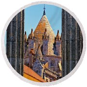 Evora's Cathedral Tower Round Beach Towel