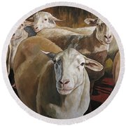 Ewes In The Paddock Round Beach Towel