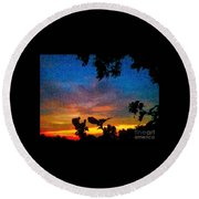 Exagerated Sunset Painting Round Beach Towel