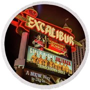 Excalibur Casino Sign Night Round Beach Towel