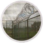 Exercise Yard Through Window In Prison Round Beach Towel