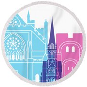 Exeter Skyline Pop Round Beach Towel