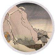 Exiled Buddhist Cleric Nichiren In The Snow Round Beach Towel