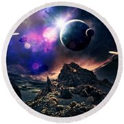 Exoplanets  Round Beach Towel