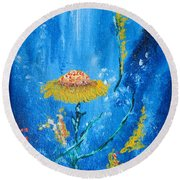 Exotic Colorful Flowers Abstract Composition Round Beach Towel