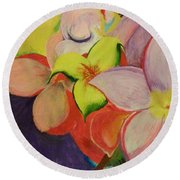 Exotic Flowers From The Islands Round Beach Towel