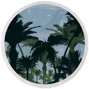 Exotic Palm Trees Silhouettes Water Color Round Beach Towel