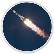 Expedition 46 Soyuz Launch To The Iss Round Beach Towel