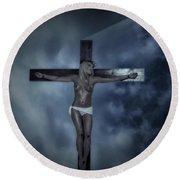 Experimental Crucifix In The Light Round Beach Towel