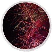Exploding Festive Fireworks Round Beach Towel