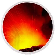 Exploding Lava At Night Round Beach Towel