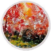 Exploding Nature Round Beach Towel