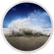 Exploding Seas Round Beach Towel