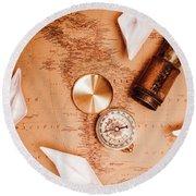 Explorer Desk With Compass, Map And Spyglass Round Beach Towel