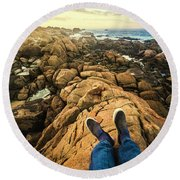 Exploring The Beaches Of Western Tasmania Round Beach Towel