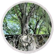 Exposed - Oak Roots Round Beach Towel