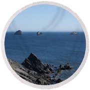 Exposed Offshore Rocks Round Beach Towel