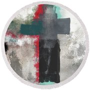 Expressionist Cross 4- Art By Linda Woods Round Beach Towel