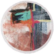 Expressionist Cross 5- Art By Linda Woods Round Beach Towel