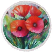Expressionist Poppies Round Beach Towel