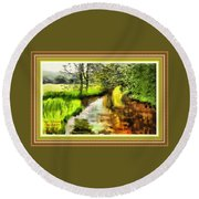 Expressionist Riverside Scene L A With Decorative Ornate Printed Frame Round Beach Towel