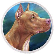 Expressive Painting Of A Red Nose Pit Bull On Blue Background Round Beach Towel