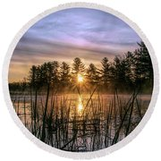 Exquisite Sunrise On The Androscoggin River 2 Round Beach Towel
