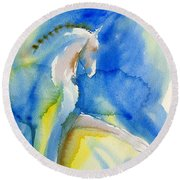 Extended Trot In Blue Round Beach Towel