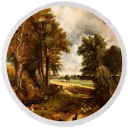 Extensive Landscape With Boy Drinking Water Round Beach Towel