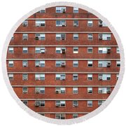 External Facade With Many Windows All Identical. Round Beach Towel
