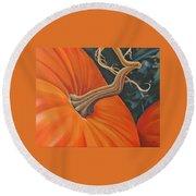 Exuberant Pumpkin Round Beach Towel