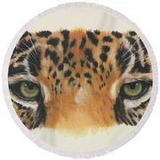 Jaguar Gaze Round Beach Towel