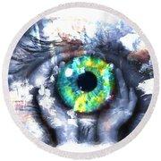 Eye In Hands 002 Round Beach Towel