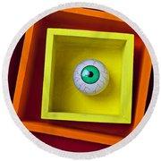 Eye In The Box Round Beach Towel