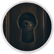 Eye Looking Through Door Keyhole Round Beach Towel