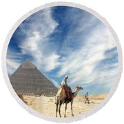 Eye On Egypt Round Beach Towel
