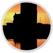 Eyebrow Gain Elevator Reflected Off Water After Sunset Round Beach Towel