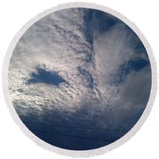 Eyes In The Clouds Round Beach Towel