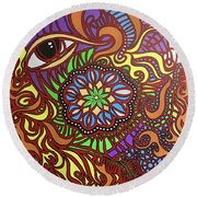Eyes Of Fire Round Beach Towel