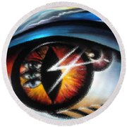 Eyes Of Immortal Soul Round Beach Towel