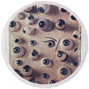 Eyes On Braille Page Round Beach Towel