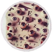 Eyes On Eye Chart Round Beach Towel
