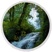 Eyes Over The Flowing Water Round Beach Towel