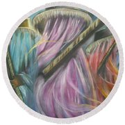 Eyo Masquerade Colorful Round Beach Towel