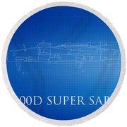 F-100d Super Sabre Blueprint Round Beach Towel
