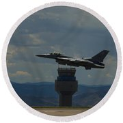 F-16 And Tower Round Beach Towel