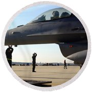 F-16 Fighting Falcons Parked Round Beach Towel by Stocktrek Images