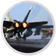 F 18 Hornet-aircraftcarriers Round Beach Towel