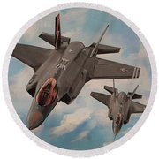 F-35's On Assignment  Round Beach Towel