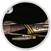 F-86 And The Moon Round Beach Towel